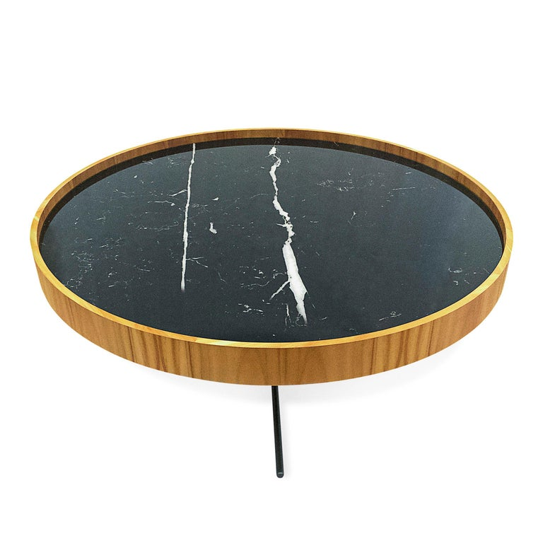 Polished Regia Occasional Table in Teak featuring Nero Glass For Sale