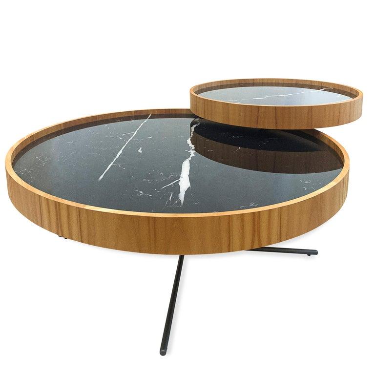 Regia Occasional Table in Teak featuring Nero Glass In New Condition For Sale In Miami, FL