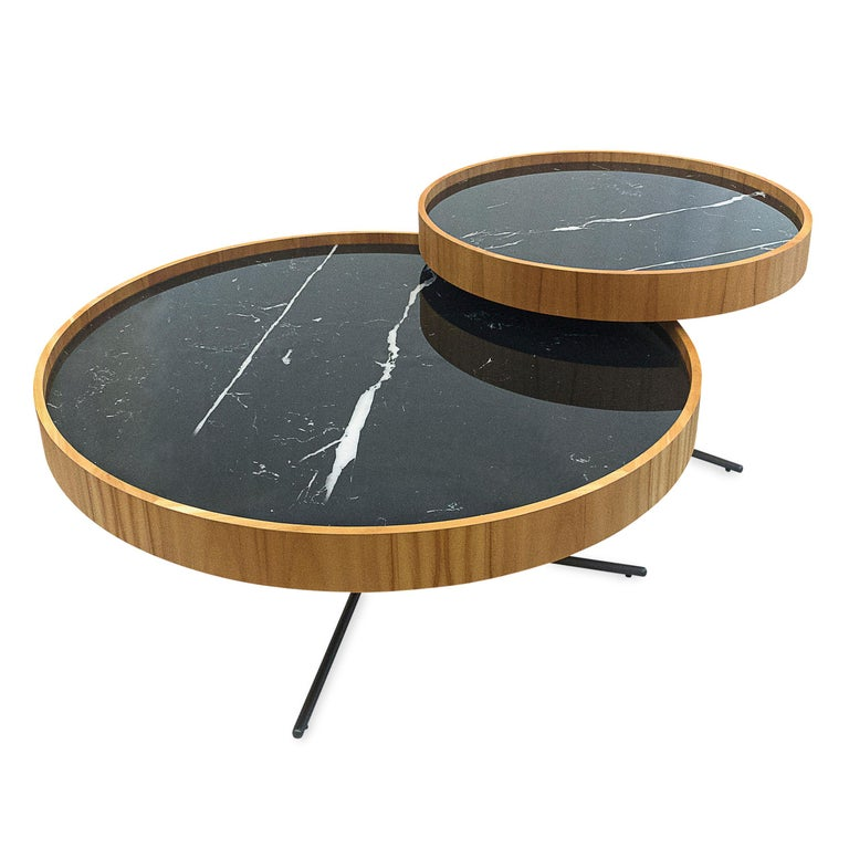 Contemporary Regia Occasional Table in Teak featuring Nero Glass For Sale