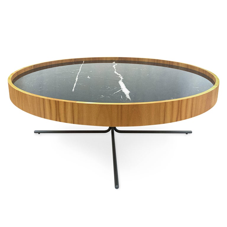 Regia Occasional Table in Teak featuring Nero Glass For Sale 1