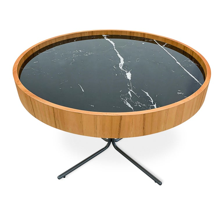 Regia Occasional Table in Teak featuring Nero Glass For Sale 3