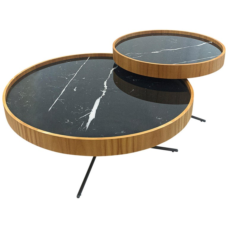 Regia Occasional Table in Teak featuring Nero Glass For Sale