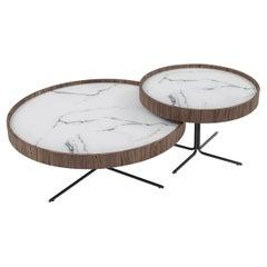 Regia Occasional Table in Walnut Featuring Carrara Glass, Set of 2