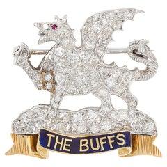Regimental Diamond, Ruby and Enamel Brooch Pin Badge