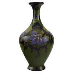 Regina, Holland, Antique Art Nouveau Vase with Hand-Painted Flowers and Foliage