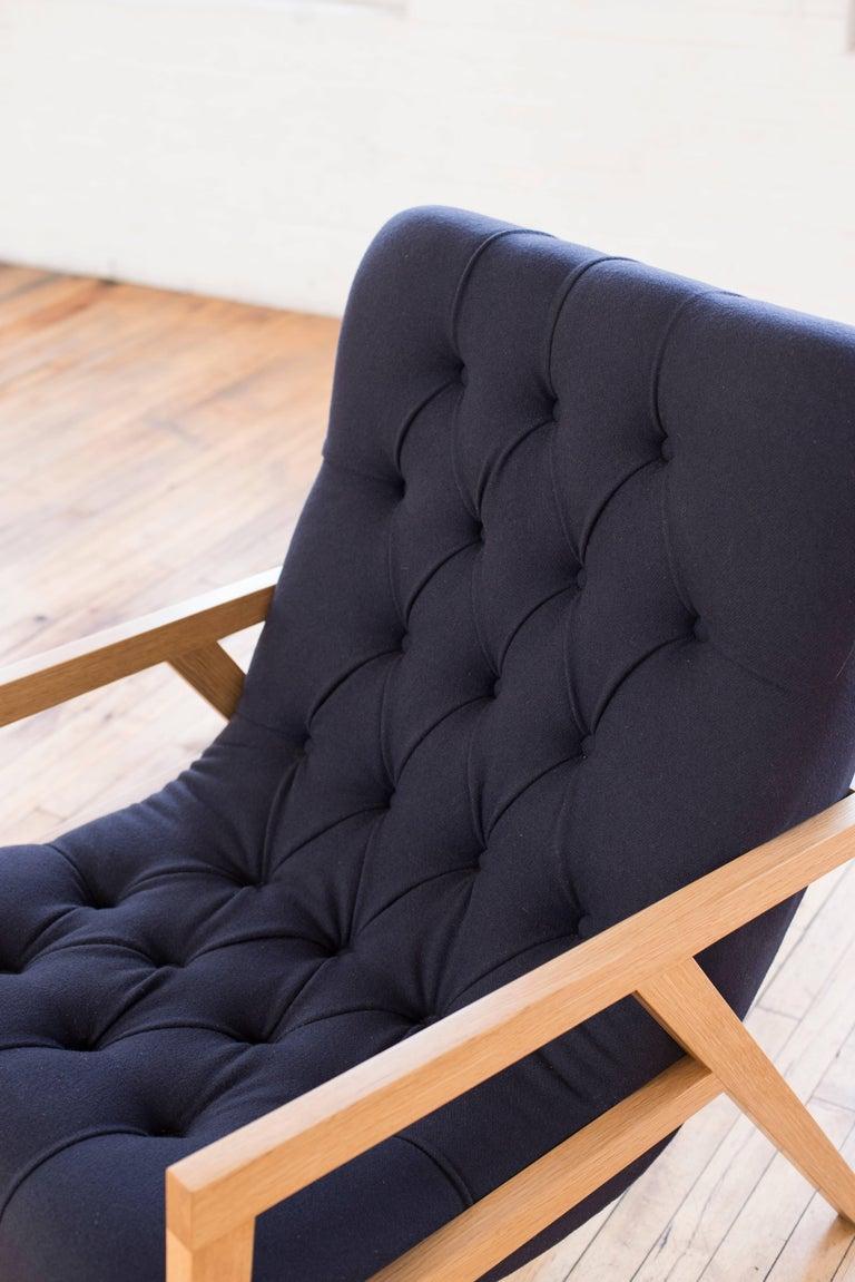 Modern Regina Lounge Chair, Handmade Lounge with Wool Diamond Tufted Upholstery For Sale