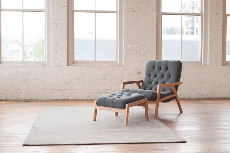 Joinery Regina Lounge Chair, Handmade Lounge with Wool Diamond Tufted Upholstery For Sale