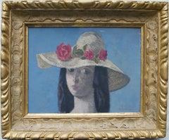 Reginald Brill, The Sun hat, Modern British oil portrait of a young lady