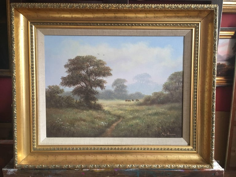 British Countryside, Mature Trees, Signed Oil - Brown Animal Painting by Reginald Brown