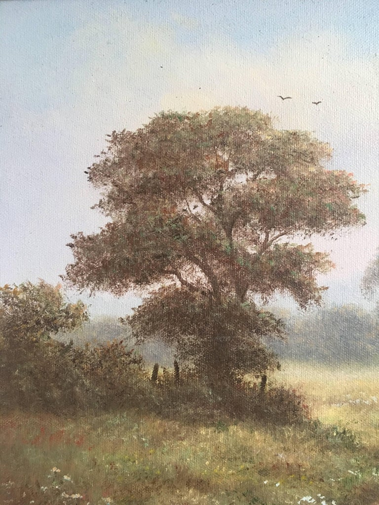 British Countryside, Mature Trees, Signed Oil British artist, Reg brown, Mid 20th Century Signed by the artist on the lower right hand corner Oil painting on canvas, framed Framed size: 17.5 x 21.5  Hazy portrayal of a summers day in rural England.