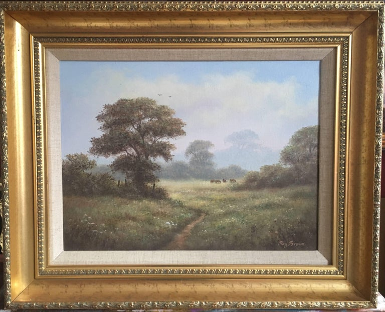 Reginald Brown Animal Painting - British Countryside, Mature Trees, Signed Oil
