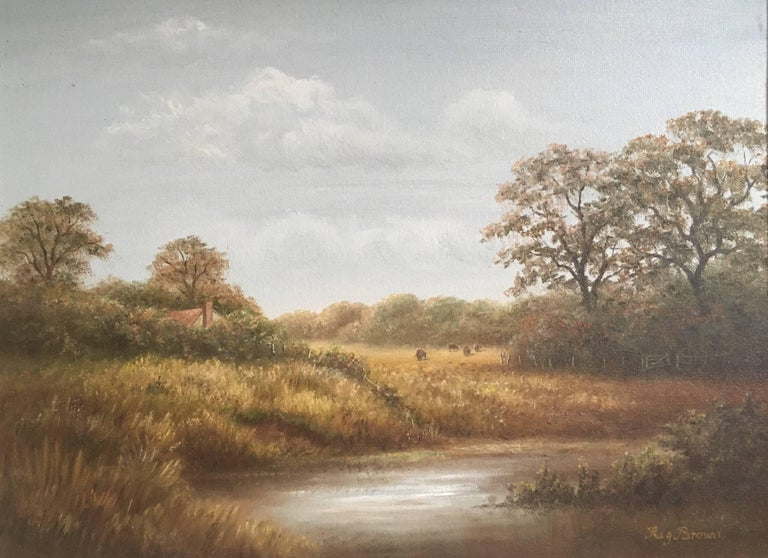 British Countryside, Trickling Stream, Signed Oil - Painting by Reginald Brown