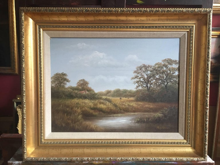 British Countryside, Trickling Stream, Signed Oil - Impressionist Painting by Reginald Brown