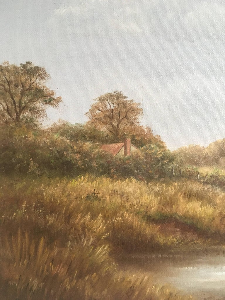 British Countryside, Trickling Stream, Signed Oil - Brown Animal Painting by Reginald Brown