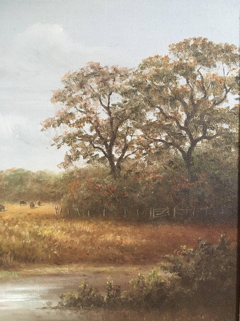 British Countryside, Trickling Stream, Signed Oil British artist, Reg brown, Mid 20th Century Signed by the artist on the lower right hand corner Oil painting on canvas, framed Framed size: 17.5 x 21.5  Hazy portrayal of a summers day in rural