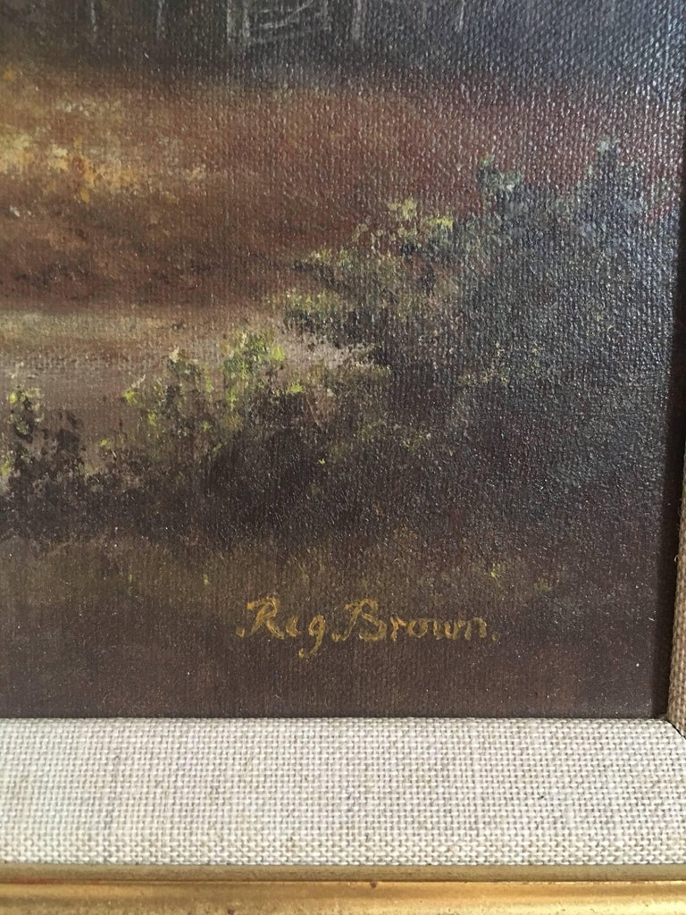 British Countryside, Trickling Stream, Signed Oil For Sale 1