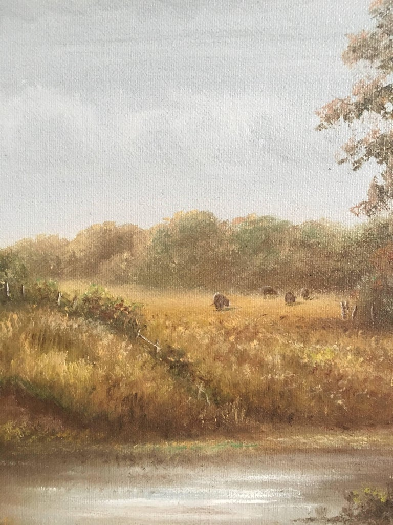 British Countryside, Trickling Stream, Signed Oil For Sale 2