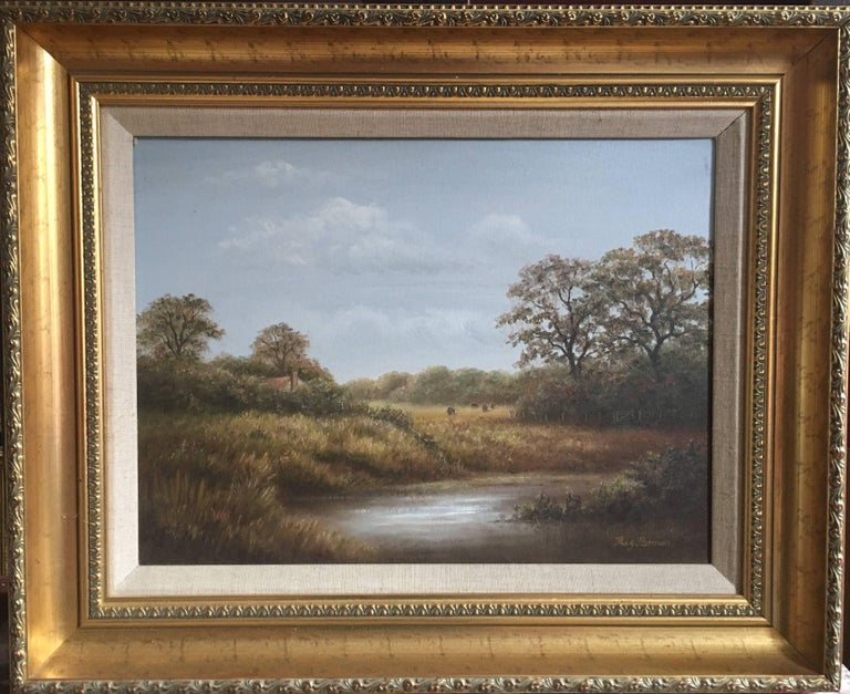 Reginald Brown Animal Painting - British Countryside, Trickling Stream, Signed Oil