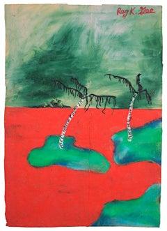 """Red Sands Golf Course,"" Oil Pastel on Paper Bag signed by Reginald K. Gee"