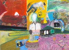 """""""Techniques of Meditation,"""" Oil Pastel Landscape signed by Reginald K. Gee"""