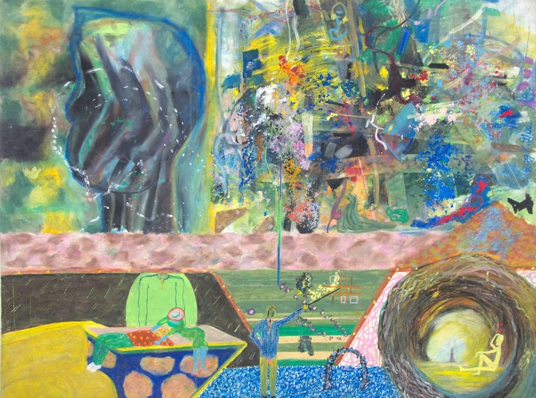 "Reginald K. Gee Figurative Art - ""The Three Dollar Bill Network,"" Oil Pastel on Cardboard signed by Reginald Gee"