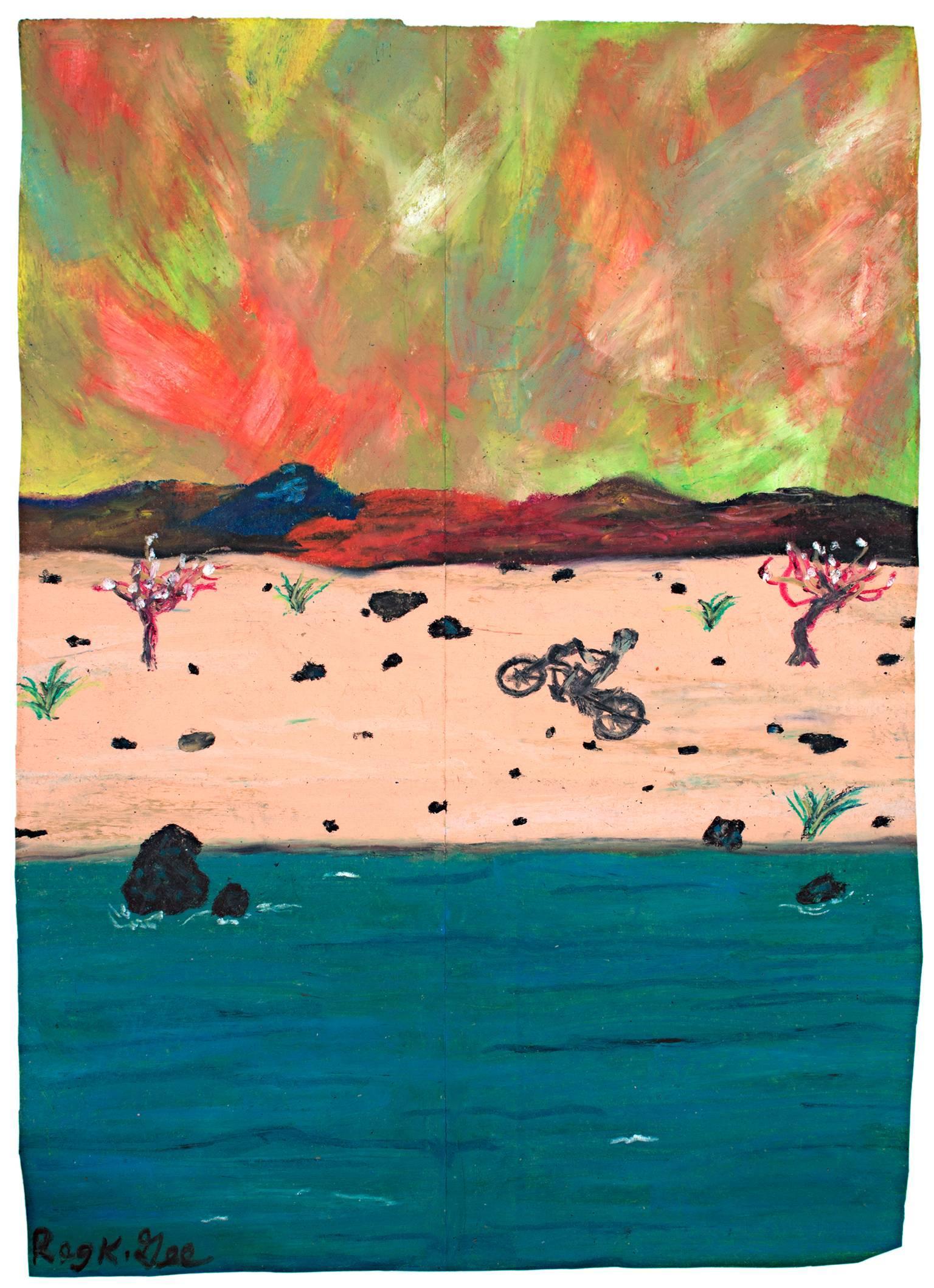 """""""Whew!,"""" Oil Pastel on Grocery Bag Landscape signed by Reginald K. Gee"""