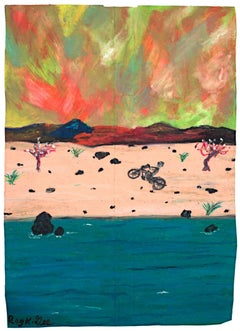 """Whew!,"" Oil Pastel on Grocery Bag Landscape signed by Reginald K. Gee"