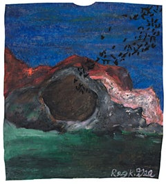 """""""Bats Exiting Cave,"""" Oil Pastel on Grocery Bag signed by Reginald K. Gee"""