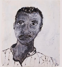 """""""Evening Before Haircut--Self-Portrait,"""" Acrylic and Enamel by Reginald K. Gee"""