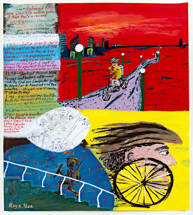 'Go-for Notations' original signed painting on parchment cycling running map - Painting by Reginald K. Gee