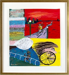 'Go-for Notations' original signed painting on parchment cycling running map