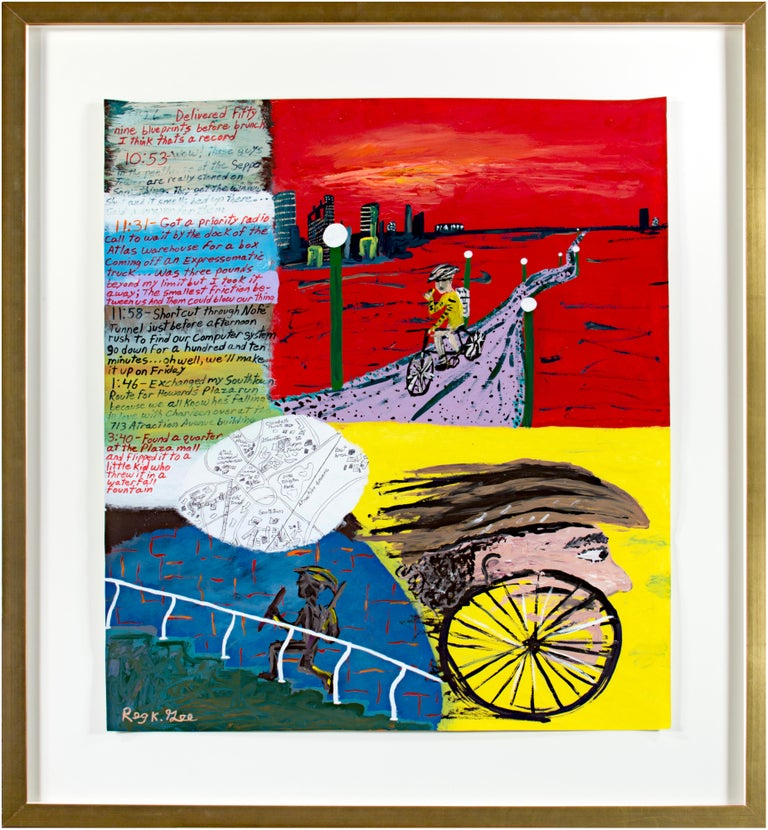 Reginald K. Gee Abstract Painting - 'Go-for Notations' original signed painting on parchment cycling running map