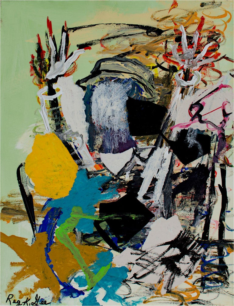 """Healing Process"" is an original acrylic painting on canvas by Reginald K. Gee. The artist signed the piece lower left. This peice features an abstracted figure raising their arms. The abstract marks are green, blue, red, yellow, and brown, and the"