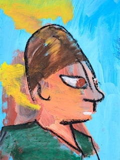 """Man In Green Shirt,"" Acrylic & Pastel on Paper signed by Reginald K Gee"