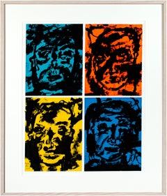 'Mystic, Awkward, Prepare the Wax, Free Will' original signed acrylic polyptich