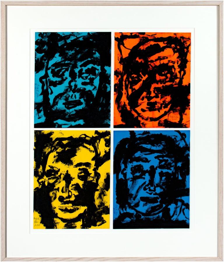 Reginald K. Gee Figurative Painting - 'Mystic, Awkward, Prepare the Wax, Free Will' original signed acrylic polyptich