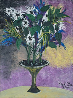 """Odd Set of Flowers,"" Original Acrylic on Canvas signed by Reginald K. Gee"