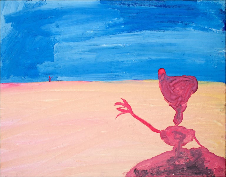 """Over Here"" is an original acrylic painting on canvas panel by Reginald K. Gee. The artist initialed the piece on the back. This artwork features an abstracted figure in pink waving to a very distant figure far away in the landscape. The ground is a"