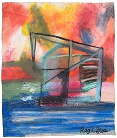 """""""Structure,"""" Oil Pastel Landscape on Grocery Bag signed by Reginald K. Gee"""