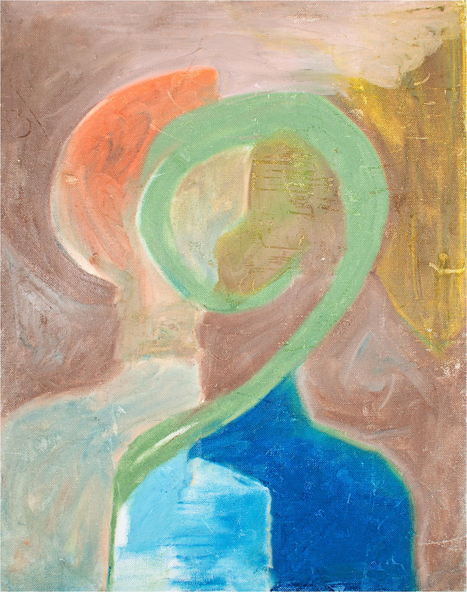 """""""Untitled,"""" Abstract Acrylic Portrait on Canvas Panel signed by Reginald K. Gee"""