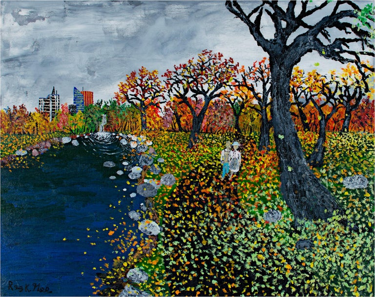"""""""Where We Meet"""" is an original acrylic painting on canvas by Reginald K. Gee. The artist signed the piece lower left and on the back. It features two people walking down a riverside path in fall; the city skyline looms in the background.   16"""" x 20"""""""