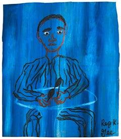 """Wherre Is She,"" Oil Pastel Portrait on Grocery Bag signed by Reginald K. Gee"