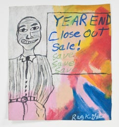 """""""Year End Close Out Sale,"""" Oil Pastel on Grocery Bag signed by Reginald K. Gee"""