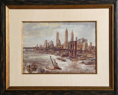 Brooklyn Bridge and Lower Manhattan, Cityscape Watercolor by Reginald Marsh