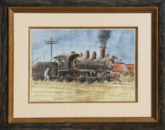 Locomotive, Train Watercolor by Reginald Marsh