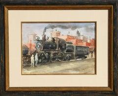 "The ""Cannonball"", Locomotive Watercolor by Reginald Marsh"