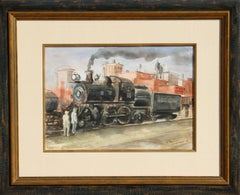 "The ""Cannonball"", Locomotive Watercolor by Reginald Marsh"