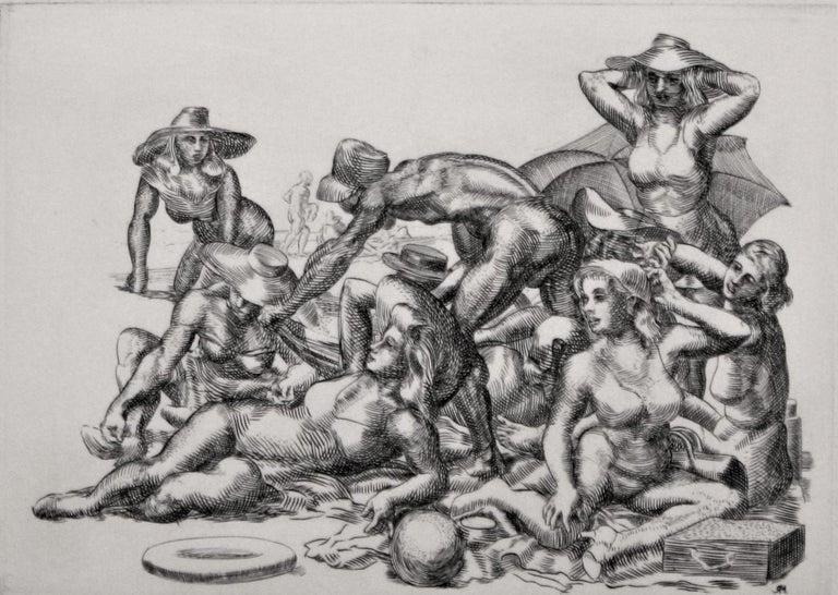 Beach Picnic. - Ashcan School Print by Reginald Marsh