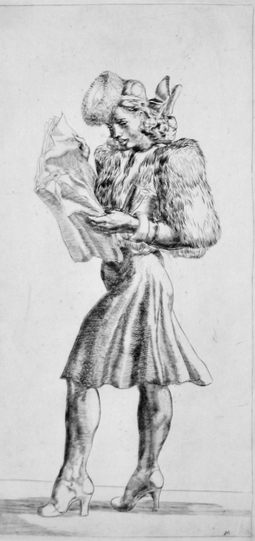 Girl in Fur Jacket Reading Tabloid