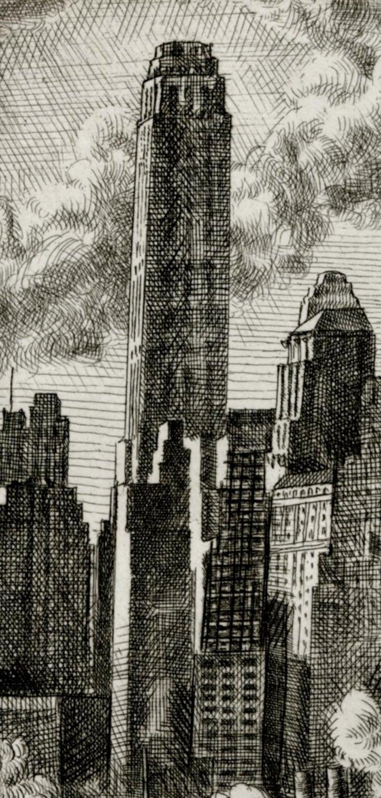 Wall Street - Black Landscape Print by Reginald Marsh
